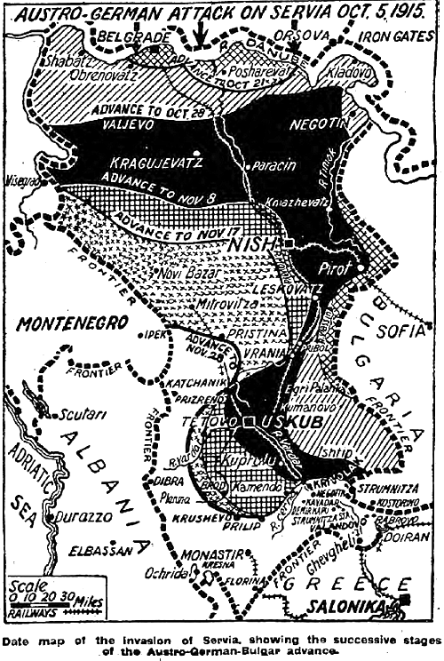 Balkan Front at the time of the German invasion 1915
