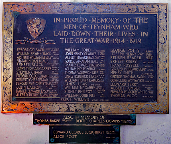 Teynham Memorial in St Marys Church - Alfred Henry Feaver
