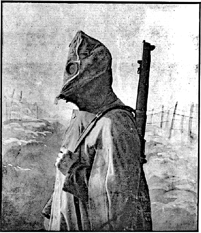 Image of soldier wearing a gas mask - posed