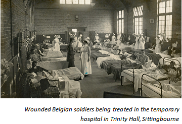 Wounded Belgian soldiers being treated in the temporary hospital in Trinity Hall, Sittingbourne