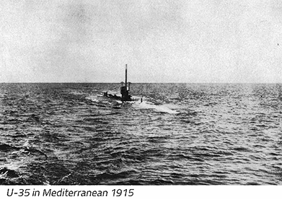U-35 seen in the Meditteranean, the submarine that sank HMS Primula