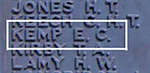 Ernest Cecil Kemp's Name on Chatham Memorial on Panel 16