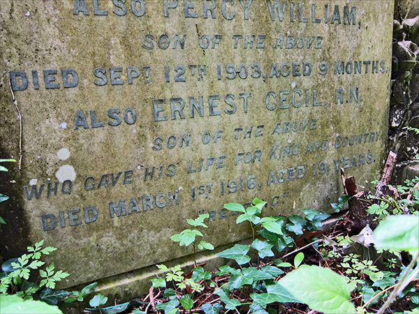 Ernest Cecil Kemp is named on his parents' grave stone in Lynsted Extension Graveyard