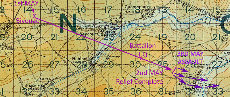 Map showing Cherisy at the beginning of May 1917