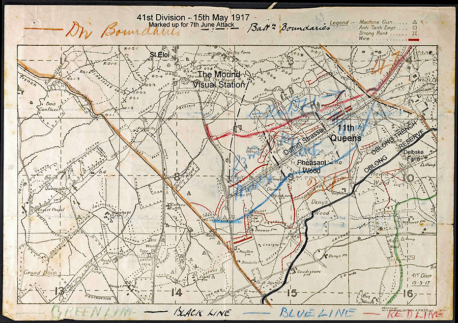 map of Brigade Disposition of 41st Division on 7th June 1917