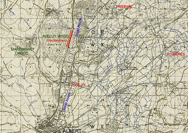 Map of the region between Albert and Pozieres