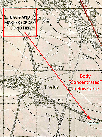 Map showing where Frank Mills body concentrated to  Bois Carre