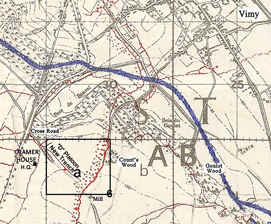 Map near Vimy and Sappers House