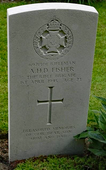 Headstone for A H D Fisher