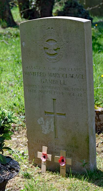 Headstone of Winifred Mary Clarage Gambell of Lynsted