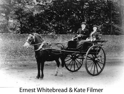 Ernest Whitebread and Kate Filmer in a horse-drawn buggy